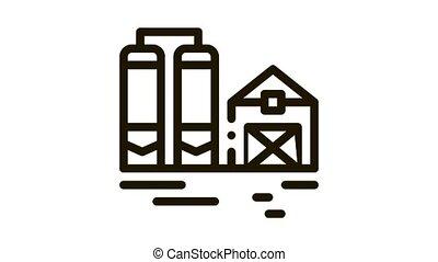 dairy farm Icon Animation. black dairy farm animated icon on white background