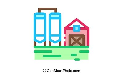 dairy farm Icon Animation. color dairy farm animated icon on white background