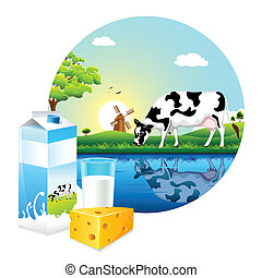 illustration of cow grazing in farm with dairy product
