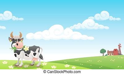 Dairy Farm - Cartoon cow grazing on meadow.