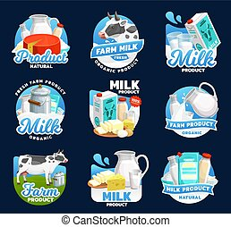 Dairy food icons, milk, cream, cheese and butter