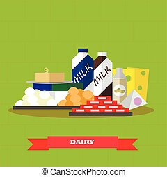 Dairy food products vector illustration in flat style design. Healthy farm poster