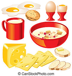 dairy food - set of vector images of dairy products for your...