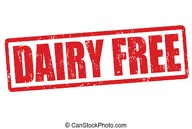 Dairy free grunge rubber stamp on white, vector illustration