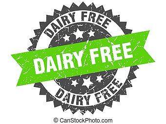 dairy free stamp. grunge round sign with ribbon