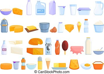 Dairy icons set. Cartoon set of dairy vector icons for web design
