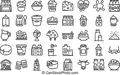 Dairy icons set. Outline set of dairy vector icons for web design isolated on white background