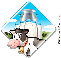 Dairy milk cow with sign illustration