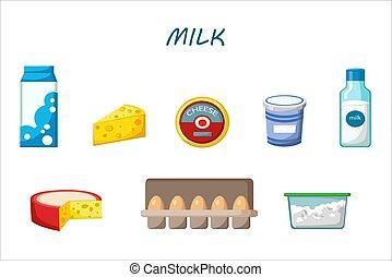 Dairy, milk, yogurt, cream, cheese products flat vector icons set
