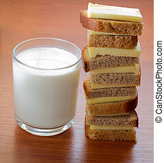 Dairy produce foodstuffs 3 - Sandwich with cheese and milk...