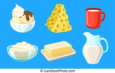 Dairy Produce Vector Set. Made of Milk Different Products Collection