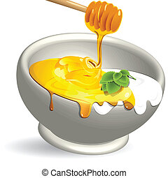 dairy product and honey - illustration, honey and dairy...