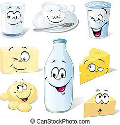 dairy product cartoon - milk, cheeses, butter and yogurt