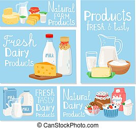 Dairy product cheese and milk, set cards