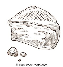 Dairy product, feta cheese triangular piece isolated sketch...