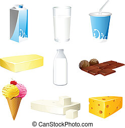 illustration of set of dairy products on isolated background