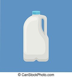 Dairy product in plastic packaging, gallon of milk vector Illustration in flat style