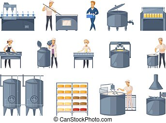 Dairy production set of cartoon icons with milk processing, cheese making, workers of factory isolated vector illustration