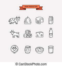 Dairy production. Icon set.