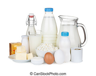 Dairy products assortment isolated