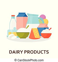 Dairy products background in flat style