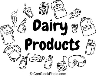 Dairy products black and white doodles set. Vector illlustration