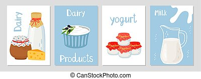 Dairy products cards template