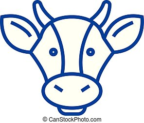 Dairy products, cow head line icon concept. Dairy products, cow head flat  vector symbol, sign, outline illustration.