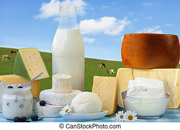 Dairy Products - dairy products in glass containers and...