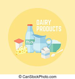 Dairy products flat design vector banner