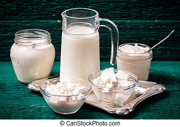 Dairy products, healthy food on wooden table