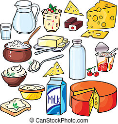 Dairy products icon set