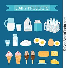 Dairy products icon set, flat style. Milk and Cheese collection. Farm foods. Vector illustration