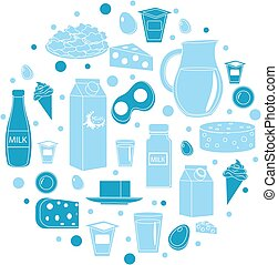 Dairy products icon set in round shape. Flat style. isolated on white background. Milk and Cheese collection. Farm foods. Vector illustration
