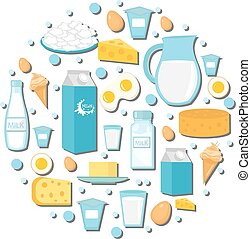 Dairy products icon set in the shape of circle. Flat style. isolated on white background. Milk and Cheese collection. Farm foods. Vector illustration