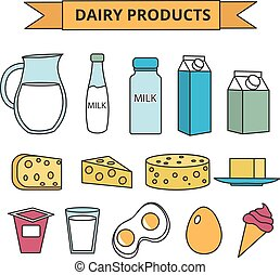 Dairy products icon set. Modern, line, outline style. Milk isolated on white background. and Cheese collection. Farm foods. Vector illustration