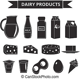 Dairy products icon set silhouette style. Milk isolated on white background. and Cheese collection. Farm foods. Vector illustration