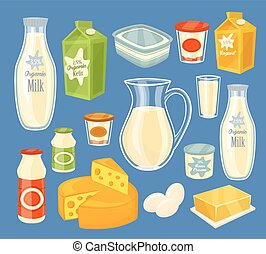 Dairy products isolated, vector illustration