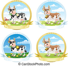 Dairy Products Labels - Set of dairy products labels. No...