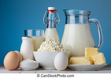 Dairy products, milk, cottage cheese, eggs, yogurt, sour...