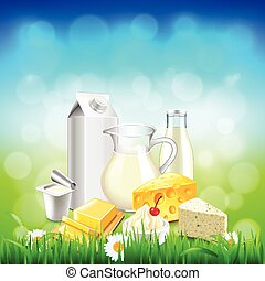 Dairy products on green grass, blue sky background