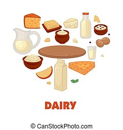 Dairy products on promotional poster in heart shape. Natural...