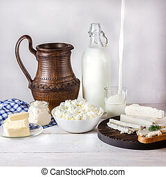 Dairy products on white  table