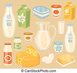 Dairy products on wooden table, milk, vector icon