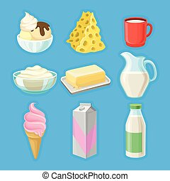 Dairy products set, fresh organic milk products vector Illustrations