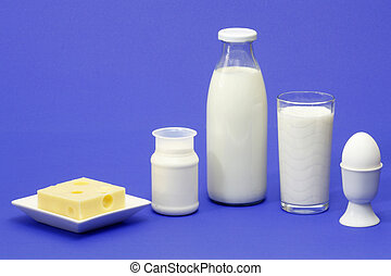 Dairy products - Fresh milk, yogurt, cheese and egg over...