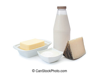 Dairy products - Various dairy products including cheese,...