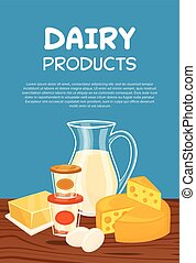 Dairy products vector poster template