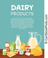 Dairy products vector poster template - Dairy products...