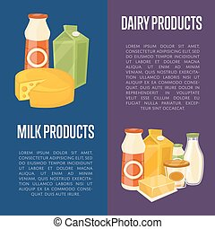 Dairy products vertical flyers with space for text